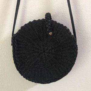 Handbags - Black Woven Circle Shoulder Bag